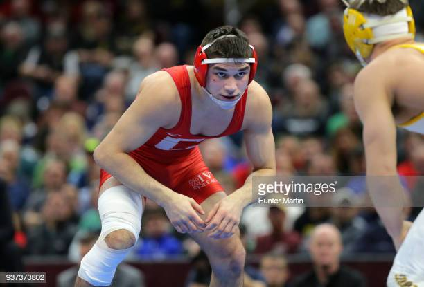 Yianni Diakomihalis of the Cornell Big Red wrestles Bryce Meredith of the Wyoming Cowboys during session six of the NCAA Photos via Getty Imagess via...