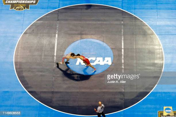 Yianni Diakomihalis of the Cornell Big Red wrestles Joey McKenna of the Ohio State Buckeyes in the 141 pound weight class during the Division I Men's...