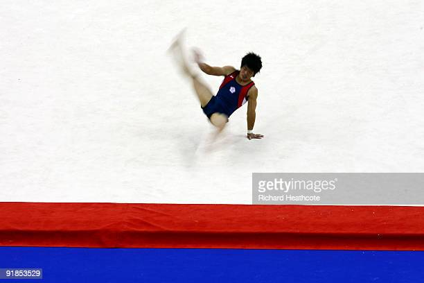 Yibing Chen of China competes in the floor exercise during the Artistic Gymnastics World Championships 2009 at O2 Arena on October 13 2009 in London...