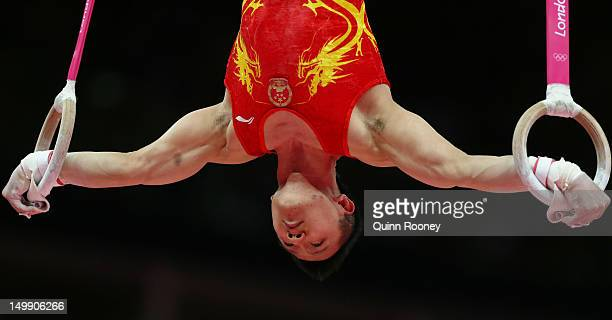 Yibing Chen of China competes on the Artistic Gymnastics Men's Rings on Day 10 of the London 2012 Olympic Games at North Greenwich Arena on August 6...
