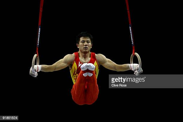 Yibing Chen of China competes on the rings during the Artistic Gymnastics World Championships 2009 at O2 Arena on October 13 2009 in London England