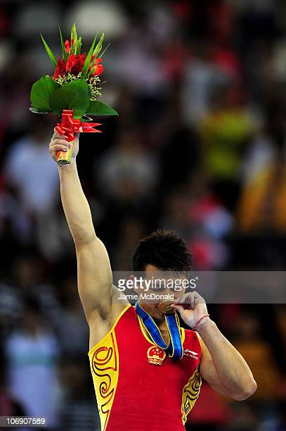 Yibing Chen of China wins gold in The Rings at the Men's Apparatus Artistic Gymnastics Final at the Asian Games Town Gymnasium during day four of the...