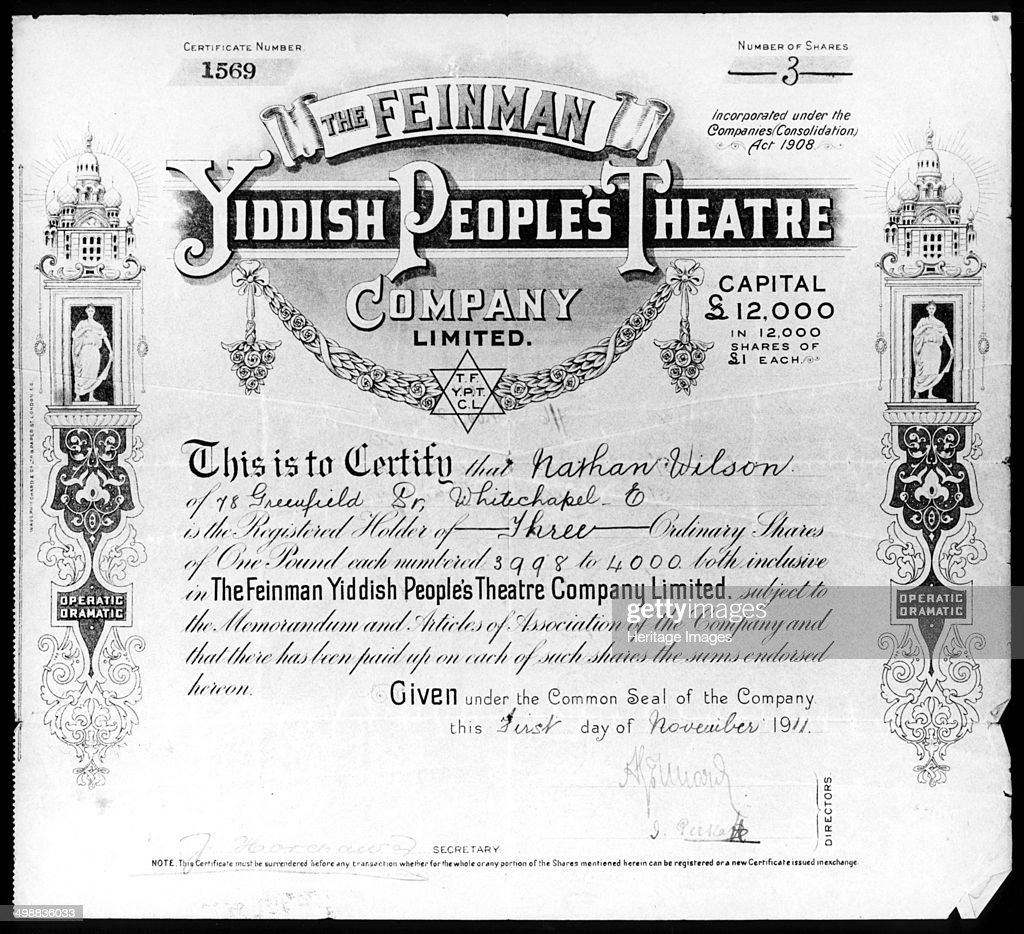 Yiddish People\'s Theatre share certificate, 1 November 1911 ...