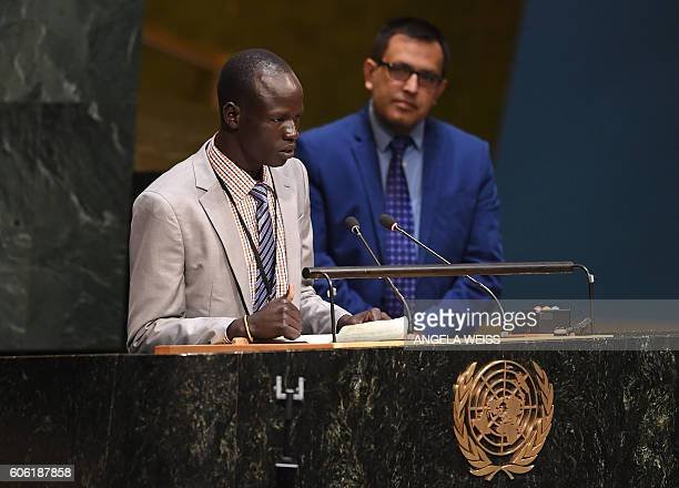 Yiech Pur Biel, Olympic Refugee Athlete speaks to the #withrefugees group prior to handing over a petition to UN Secretary-General on September 16,...