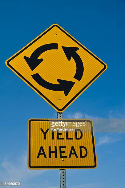 yield, roundabout ahead - give way stock pictures, royalty-free photos & images