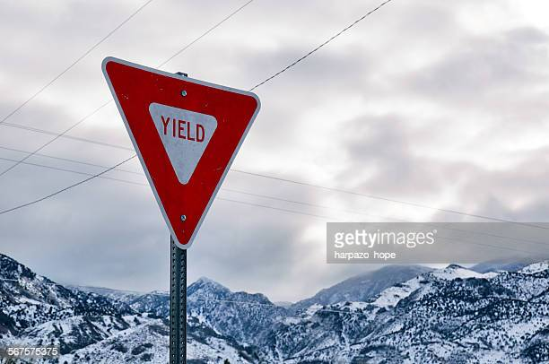 Yield sign in winter.