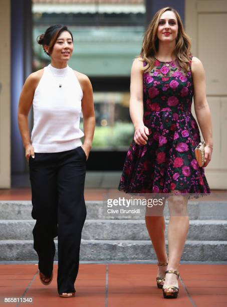 YiFan Xu of China and Gabriela Dabrowski of Canada arrive for the Doubles Draw during day 3 of the BNP Paribas WTA Finals Singapore presented by SC...