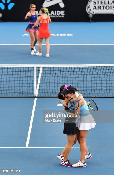 Yifan Xu of China and Nicole Melichar of the USA clelebrate winning the doubles final over Gabriela Dabrowski of Canada and Darija Jurak of Croatia...