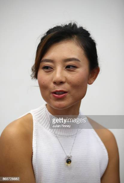 YiFan Xu of China looks on during day 3 of the BNP Paribas WTA Finals Singapore presented by SC Global at Singapore Sports Hub on October 24 2017 in...