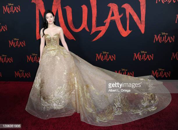 Yifei Liu arrives for the Premiere Of Disney's Mulan held at Dolby Theatre on March 9 2020 in Hollywood California