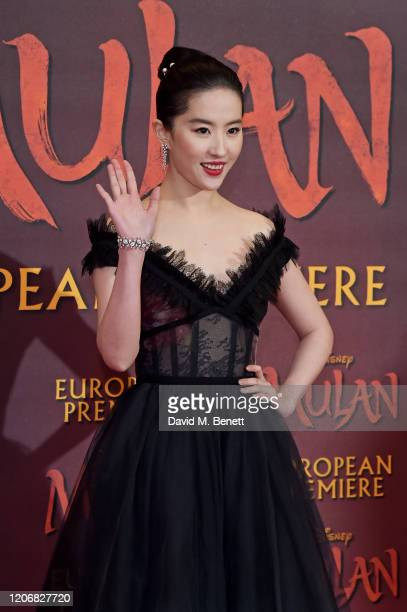 Yifei Liu attends the European Premiere of Mulan at Odeon Luxe Leicester Square on March 12 2020 in London England