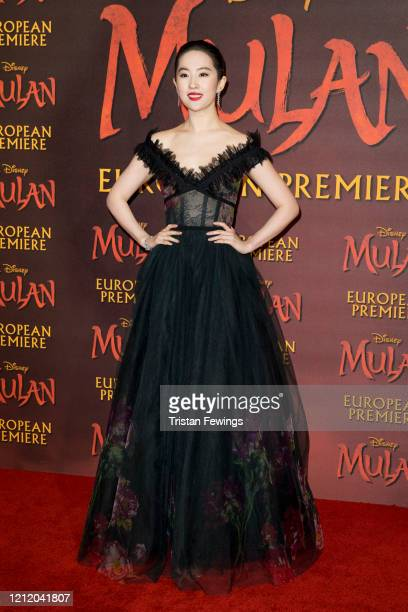 "Yifei Liu attends the ""Mulan"" European Premiere at Odeon Luxe Leicester Square on March 12, 2020 in London, England."