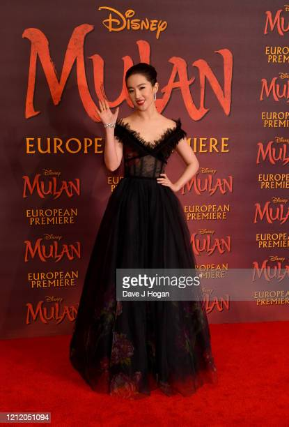 Yifei Liu attends the Mulan photocall at Trafalgar Hotel on March 13 2020 in London England