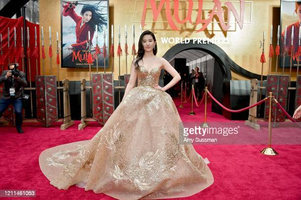 "Yifei Liu attends the premiere of Disney's ""Mulan"" at Dolby Theatre on March 09, 2020 in Hollywood, California."