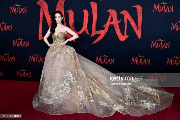 "Yifei Liu attends the Premiere Of Disney's ""Mulan"" on March 09, 2020 in Los Angeles, California."