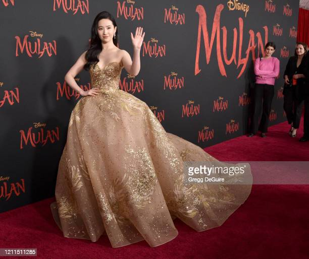 "Yifei Liu attends the Premiere Of Disney's ""Mulan"" on March 09, 2020 in Hollywood, California."