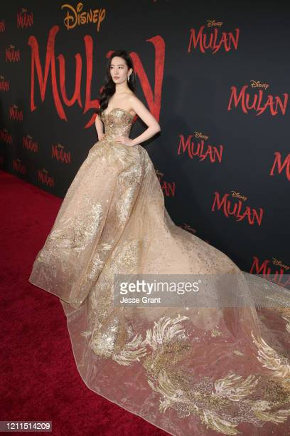 Yifei Liu attends the World Premiere of Disney's 'MULAN' at the Dolby Theatre on March 09 2020 in Hollywood California