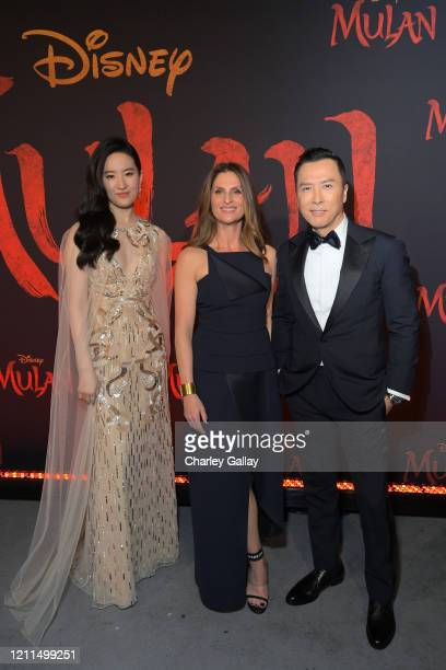 Yifei Liu Director Niki Caro and Donnie Yen attend the World Premiere of Disney's 'MULAN' at the Dolby Theatre on March 09 2020 in Hollywood...