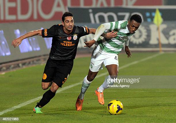 Yigit Gokoglan of Galatasaray and Darnell Fisher of Celtic in action during the Turkish Airlines Antalya Cup Final match between Galatasaray and...