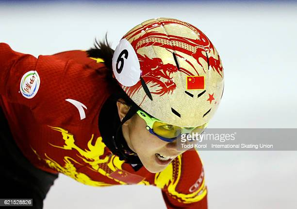 Yihan Guo of China races in the women's 1000 meter quarter final during the ISU World Cup Short Track Speed Skating event November 6 2016 in Calgary...