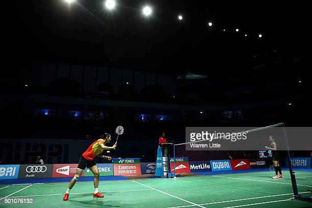 Yihan Wang of China in action against Ratchanok Intanon of Thailand in the semi final of the Women's Singles match during day four of the BWF Dubai...
