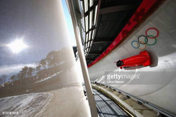 Yijun Shao of China trains during Bobsleigh practice ahead of the PyeongChang 2018 Winter Olympic Games at Olympic Sliding Centre on February 7 2018...