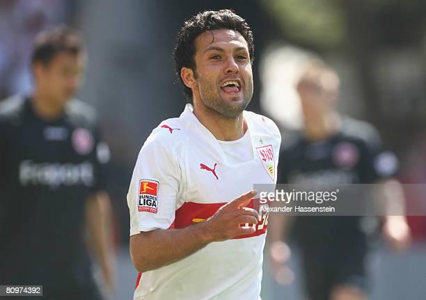 Yildiray Bastuerk of Stuttgart celebrates scoring the 3rd goal during the Bundesliga match between VfB Stuttgart and Eintracht Frankfurt at the...