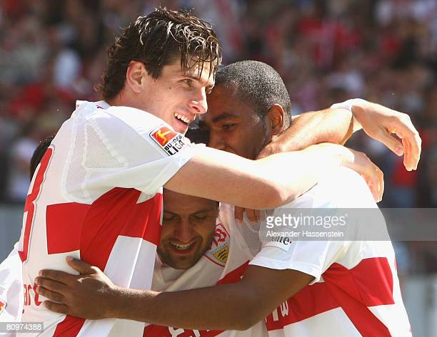 Yildiray Bastuerk of Stuttgart celebrates scoring the 3rd goal with his team mates Mario Gomez and Cacau during the Bundesliga match between VfB...
