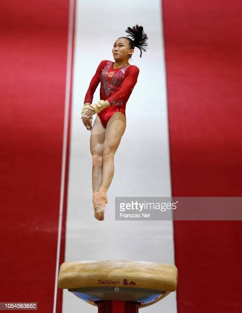 Yile Chen of China competes in the Women's Vault Qualification during day four of the 2018 FIG Artistic Gymnastics Championships at Aspire Dome on...
