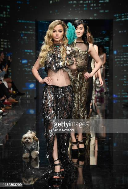 Yilena Hernandez and models walk the runway wearing Anthony Rubio at Los Angeles Fashion Week FW/19 Powered by Art Hearts Fashion at The Majestic...