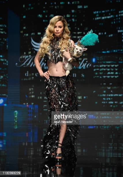 Yilena Hernandez walks the runway wearing Anthony Rubio at Los Angeles Fashion Week FW/19 Powered by Art Hearts Fashion at The Majestic Downtown on...