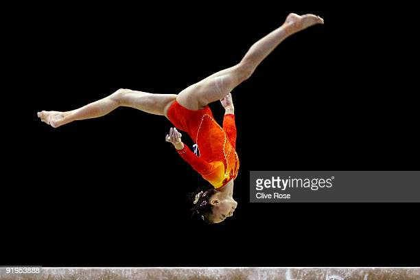 Yilin Yang of China competes in the beam exercise during the Women's All Round Final on the fourth day of the Artistic Gymnastics World Championships...
