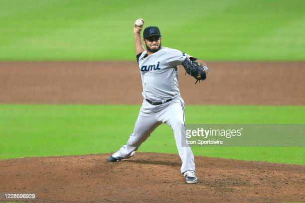 Yimi Garcia of the Miami Marlins pitches during the MLB game between the Atlanta Braves and the Miami Marlins on September 24 2020 at Truist Park in...