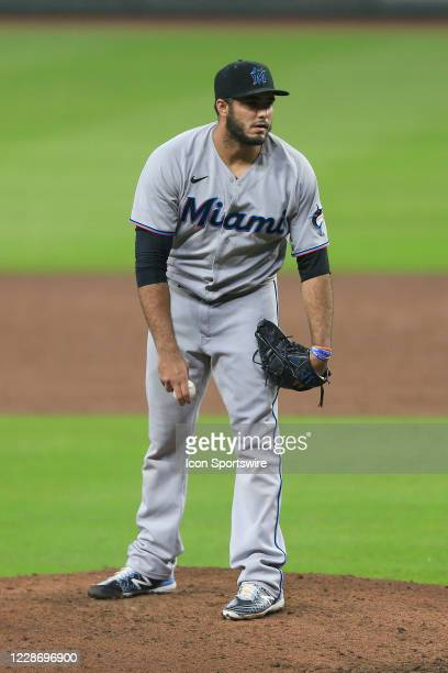 Yimi Garcia of the Miami Marlins stares down a batter during the MLB game between the Atlanta Braves and the Miami Marlins on September 24 2020 at...
