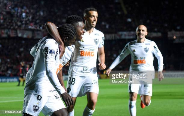 Yimmi Chara of Atletico MG celebrates with teammates after scoring the goal first of his team during the first leg semifinal of Copa CONMEBOL...