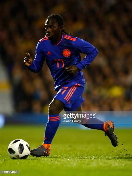 Yimmi Chara of Colombia in action during the International Friendly match between Australia and Colombia at Craven Cottage on March 27 2018 in London...