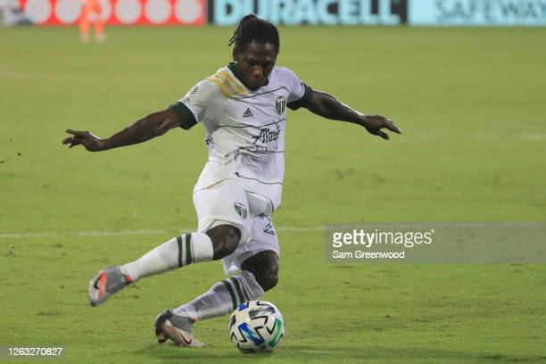 Yimmi Chara of Portland Timbers controls the ball during a quarter final match of MLS Is Back Tournament between New York City and Portland Timbers...