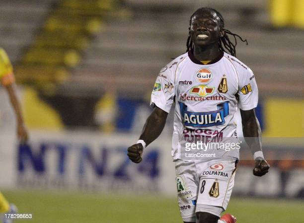 Yimmy Chara of Deportes Tolima celebrates a scored goal against Atletico Huila during a match between Atletico Huila and Deportes Tolima as part of...