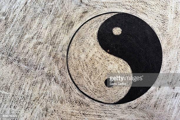 Yin and yang symbol on drum