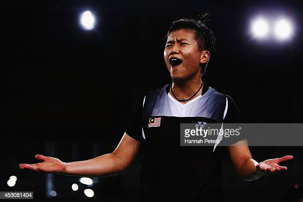Yin Loo Lim of Malaysia complains to the referee against Gabrielle Adcock and Lauren Smith of England in the Women's Doubles Bronze Medal match with...