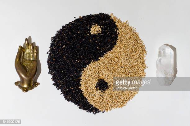 Yin Yang Sesame Seeds with Shiva Hand and Crystal