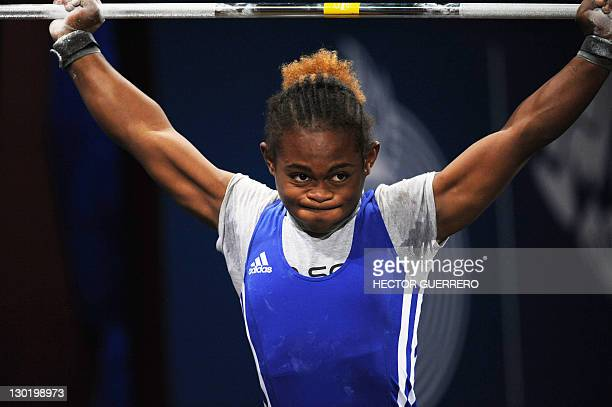Yineisy Reyes from the Dominican Republic performs in the 88 kg weightlifting snatch competition during the Guadalajara 2011 XVI Pan American Games...