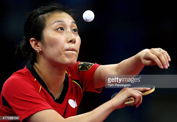 Ying Han of Germany competes in the Women's Team Table Tennis semi final match against Iveta Vacenovska of Czech Republic during day two of the Baku...