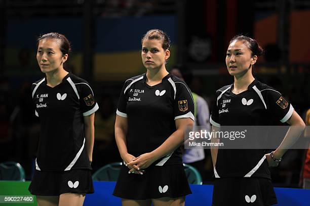 Ying Han Petrissa Solja and Xiaona Shan of Germany are seen before the Women's Team Gold Medal Team Match between China and Germany on Day 11 of the...