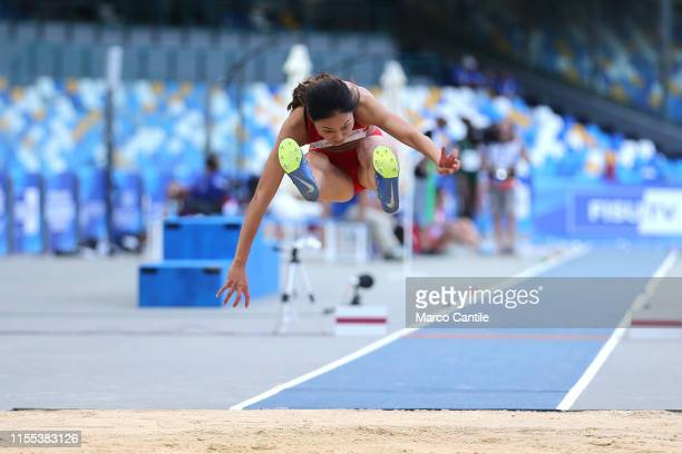 Ying Li of China during the final stages of athletics for the 2019 Universiade in the specialty of Triple Jump at San Paolo stadium in Naples