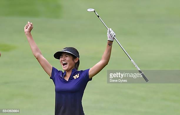 Ying Luo of Washington reacts after holing out from the fairway on the 18th hole during the final round of the 2016 NCAA Division I Women's Golf...