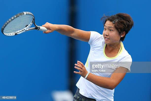 Ying Zhang of China in action in her first round doubles match with Ziyue Sun of China against Kaylah McPhee of Australia and Linda Huang of...