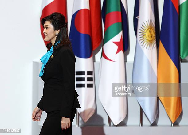 Yingluck Shinawatra, Thailand's prime minister, arrives for the working dinner at the 2012 Seoul Nuclear Security Summit in Seoul, South Korea, on...