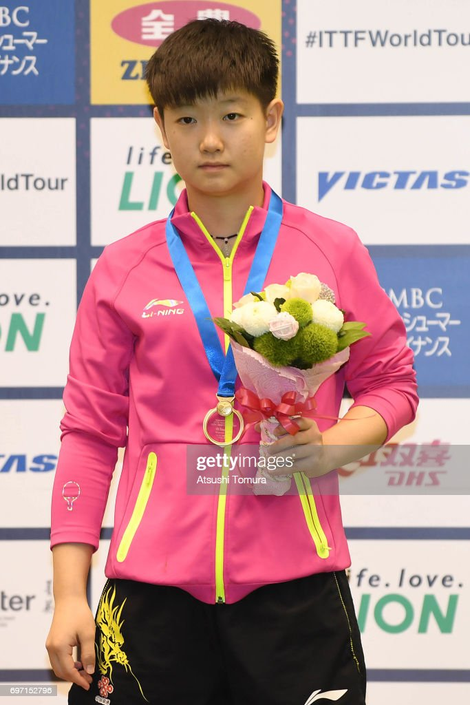 Yingsha Sun of China poses with the gold medal after winning the women's singles on the day 5 of the 2017 ITTF World Tour Platinum LION Japan Open at Tokyo Metropolitan Gymnasium on June 18, 2017 in Tokyo, Japan.