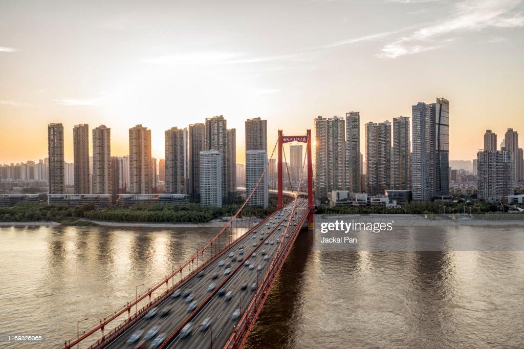 Yingwuzhou Yangtze River Bridge : Stock Photo